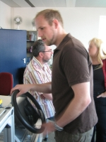 Nils trying the demonstrator at the open lab event